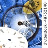 Grunge clock background with time machines tools and motion clock effect - stock photo