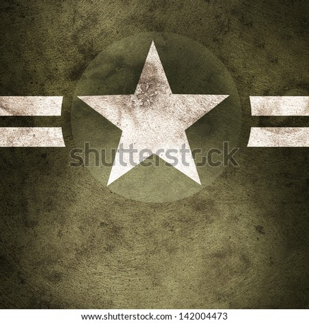 Grunge design of a military army star background with cadet copyspace