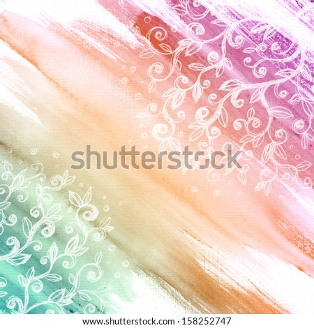 Grunge floral watercolor background