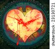 Grunge illustration with a bleeding heart shape over a textured clock face - stock