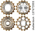 Grunge Metal Gears on White Background / Four metal and brown gears with bolts isolated on white background - stock photo