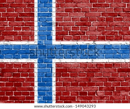 Grunge Norway flag on brick wall