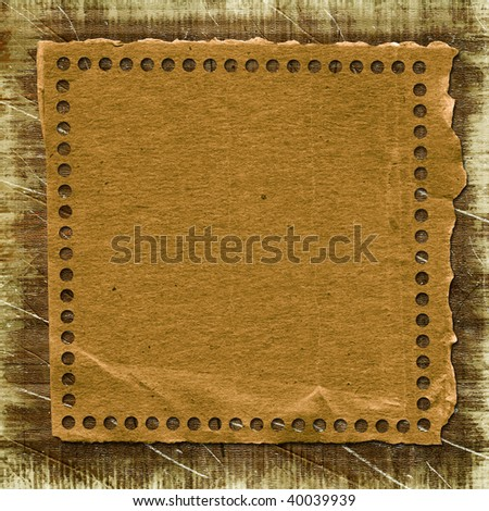 Grunge paper frame in scrapbooking style on the abstract background.