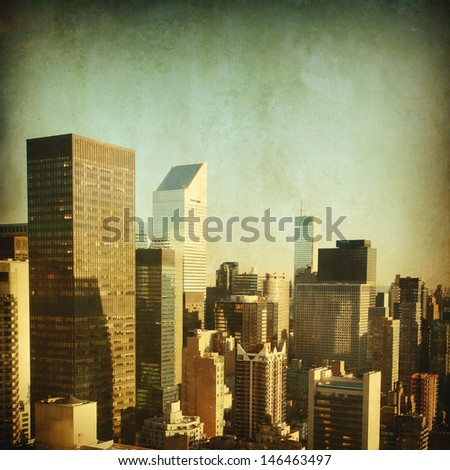 Grunge photo of skyscrapers in New York City.