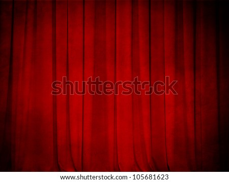 Grunge Theater Red Curtain Background