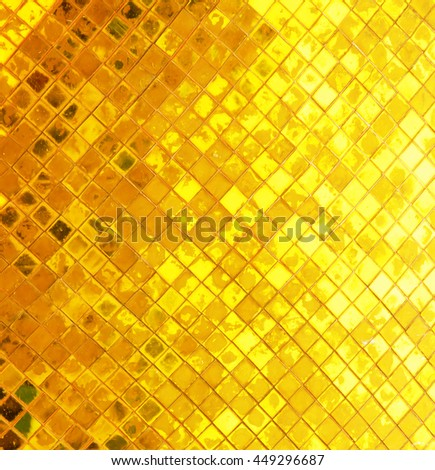 grunge tile gold wall texture used for background