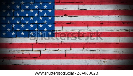 Grunge USA flag on brick wall background