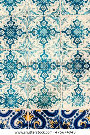 Grunge Wall Art Texture / Traditional ornate portuguese decorative tiles azulejos / Abstract colorful wall background.