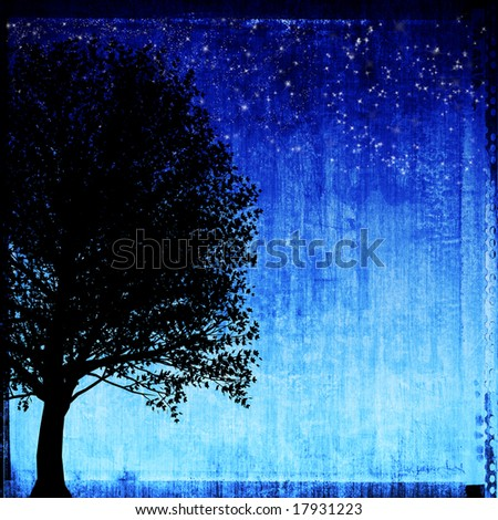 Grungy tree and night sky with stars
