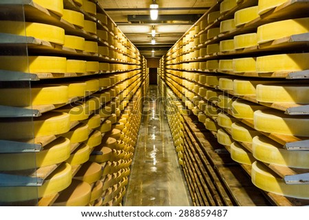 GRUYERES, SWITZERLAND - MAY 23: Interior view of a cheese diary in the historical town Gruyeres in the canton of Fribourg, Switzerland on May 23, 2015. Gruyere is a famous swiss cheese.