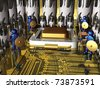 Guardians and electronic components on the motherboard. - stock photo