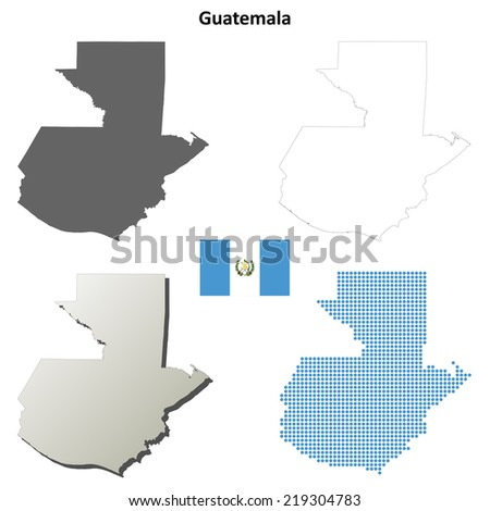 Guatemala blank detailed outline map set - jpeg version