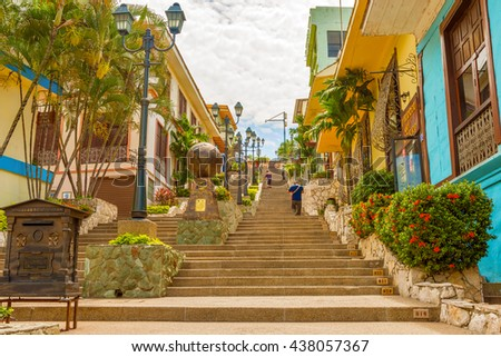 Guayaquil, Ecuador - April 16, 2016: Houses and the stgairs at Cerro Santa Ana, a touristic attraction of Guayaquil, Ecuador.