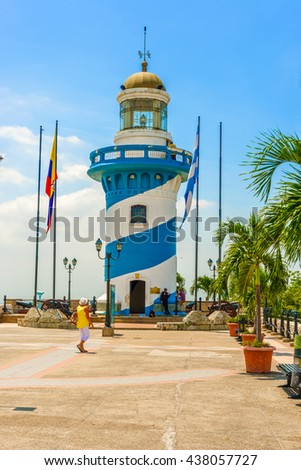 Guayaquil, Ecuador - April 16, 2016: Lighthouse on the trop of Santa Ana hill in Guayaquil in Ecuador.