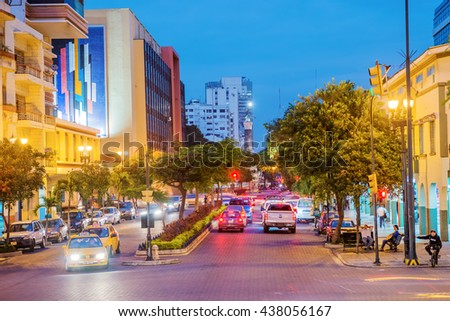 Guayaquil, Ecuador - April 15, 2016: Night view at the traffic a on the street leading to monument to the Ecuador independence heroes in Guayaquil, Ecuador.