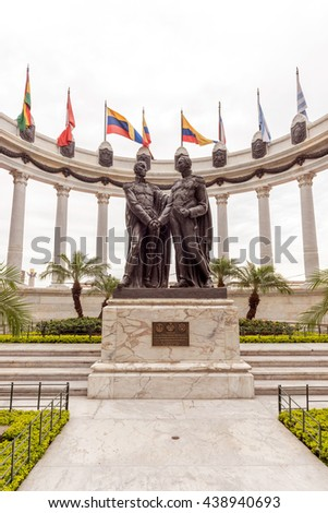 Guayaquil, Ecuador - April 15, 2016: Statue monument la rotunda. This monument celebrates the meeting that took place between two Latin American liberators on this very spot on July 29, 1822.