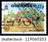 GUERNSEY - CIRCA 1995: a stamp printed in the Guernsey shows Riding for the Disabled, International Year of the Disabled, circa 1981 - stock photo