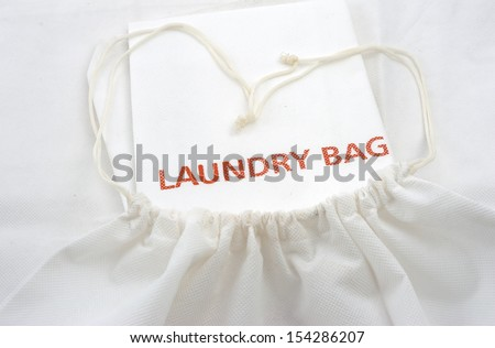 guest white fabric laundry bag