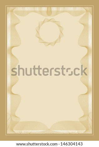 Guilloche frame for diploma or certificate. Raster copy of vector illustration