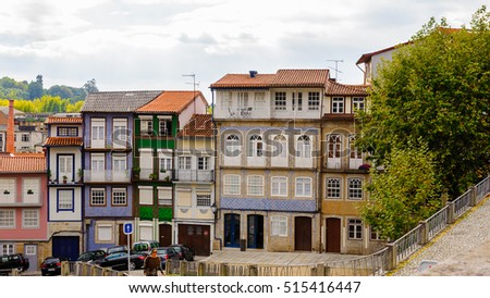 GUIMARAES, PORTUGAL - OCT 14, 2016: Coloured architecture of Historic Centre of Guimaraes, Portugal. UNESCO World Heritage