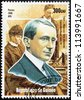 GUINEA - CIRCA 1998. A postage stamp printed by GUINEA shows image portrait of famous Italian physicist and inventor Guglielmo Marconi, circa 1998. - stock photo