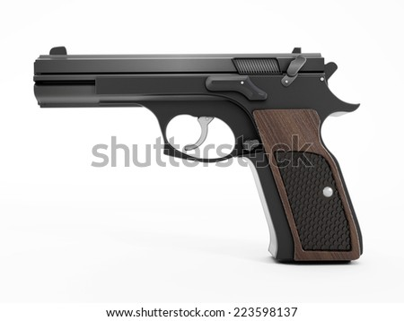 Gun isolated on white surface.