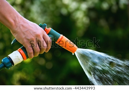 Gun Water Hose Nozzle Sprayer Woman Stock Photo 443443993