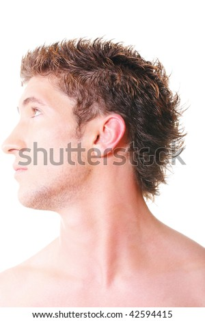 Guy side-view closeup photo against white background