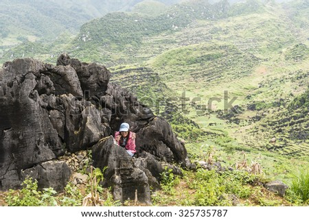 Ha giang, Vietnam - September 19, 2015: Visitors are excited and enjoy the views .   province Ha Sang.  north of Vietnam.