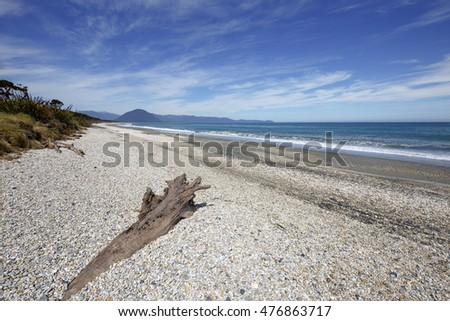 Haast beach on the South Island of New Zealand