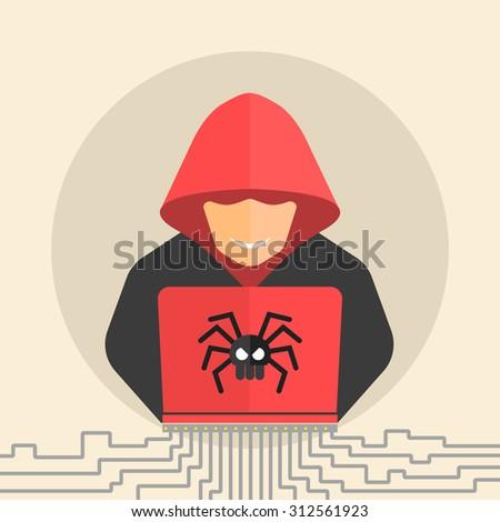 Computer Hacker Spread Net Isolated Vector Stock Vector ...