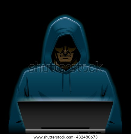 Hacker working in the shadow