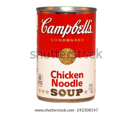HAGERSTOWN, MD - JANUARY 3, 2014: Image of Campbell's condensed soup.  Campbell's Soup Company was founded in 1869 and now sells products in 120 countries worldwide.