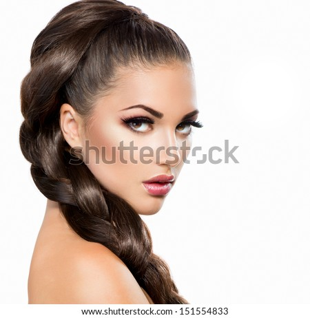 Woman with healthy long hair hairdressing hairstyle stock photo