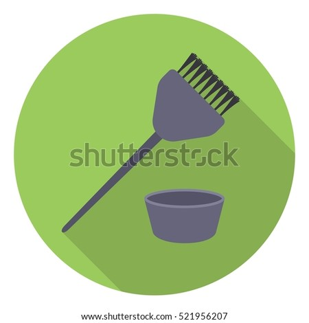 Hair coloring brush icon in flat style isolated on white background. Hairdressery symbol stock bitmap illustration.