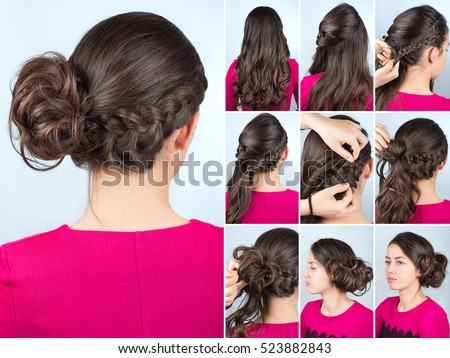 Bun Hairstyles For Curly Hair : Modern hairstyle twisted bun braid curly stock photo 523882822