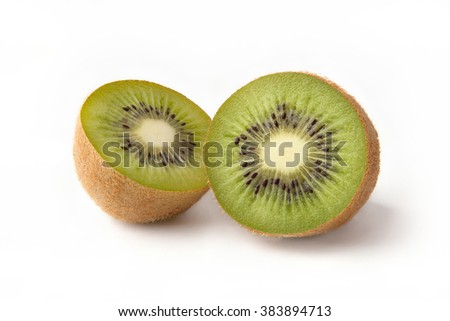 half kiwi fruit on white background
