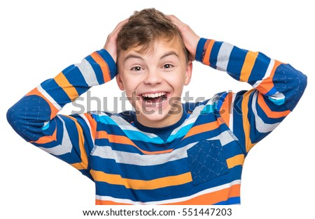 Half-length emotional portrait of caucasian teen boy. Surprised teenager looking at camera. Handsome happy child, isolated on white background.