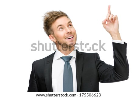 Half-length portrait of business man pointing hand gesture, isolated