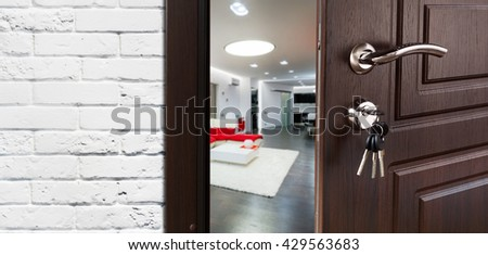 Half Opened Door To A Living Room Handle Lock Lounge