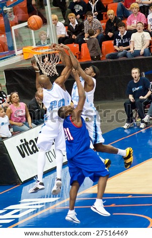 HALIFAX, NS - MARCH 28: The Halifax Rainmen beat the Montreal Sasquatch 130-89 in Premier Basketball League action at the Halifax Metro Centre March 28, 2009 in Halifax, NS.