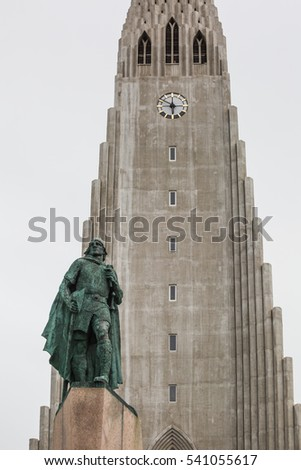 Hallgrimskirkja Cathedral with Statue of Leifur Eriksson, the Viking chief in Iceland, Reykjavik