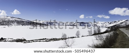 Hallingskarvet is a mountain range in southern Norway stretching from Geilo to Finse. The highest point is the 1,933-metre (6,342 ft) tall mountain Folarskardnuten