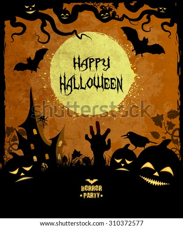 Halloween Background With Moon, Castle, Zombie Hand, Grass, Bat, Pumpkin And Title Inscription