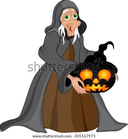Halloween background with  witch and pumpkins. Halloween banner