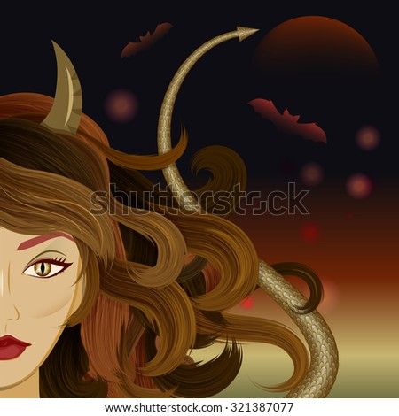 Halloween beautiful witch with horns, reptile's eyes and devil's tail. Glamorous devil set against gloomy background with moon and bats.