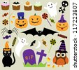 Halloween elements. Raster version - stock vector