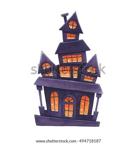 Big haunted house halloween theme cartoon stock vector - Cartoon haunted house pics ...