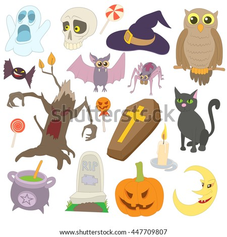 Halloween icons set in cartoon style isolated on white background