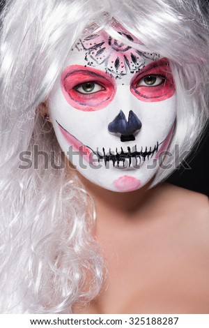 Girls Face Close Up Her Green Stock Photo 325188293 - Womens Halloween Face Makeup